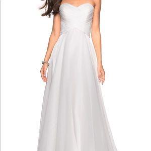 La Femme strapless white chiffon gown